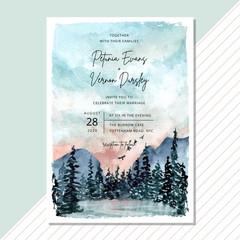 Fototapeta wedding invitation card with landscape watercolor background obraz