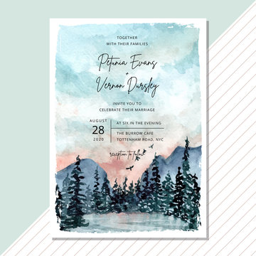wedding invitation card with landscape watercolor background