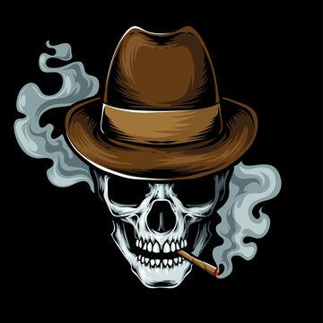 mafia skull smoke vector logo