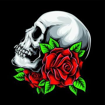 skull with roses vector art