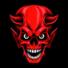 red devil skull vector logo