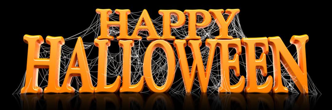Orange Happy Halloween text covered in spooky spider webs banner - 3d render