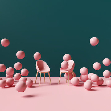 Pink chair with balloons. Creative design. Minimal concept. 3d rendering