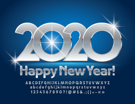 Vector luxury Happy New Year 2020 Greeting Card. Beautiful Silver Font. Metallic Alphabet Letters and Numbers.