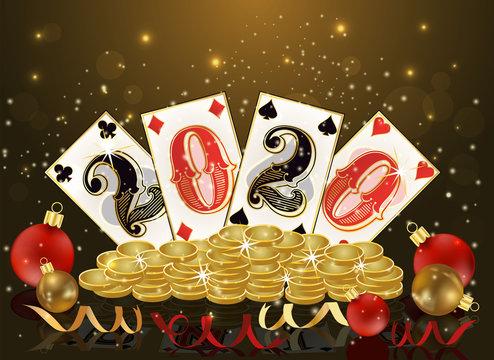 Christmas poker, new 2020 year casino card, vector illustration