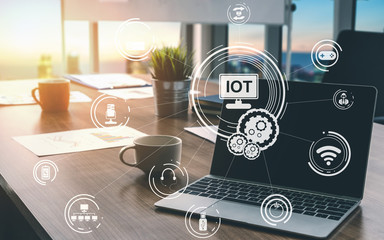 Internet of Things and Communication Technology Concept - Modern graphic interface showing smart information and digital lifestyle in application software for home and business use.