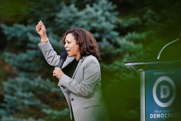 Kamala Harris, U.S. Senator and Democratic presidential hopeful,  speaks at the Polk County Democrats' Steak Fry in Des Moines