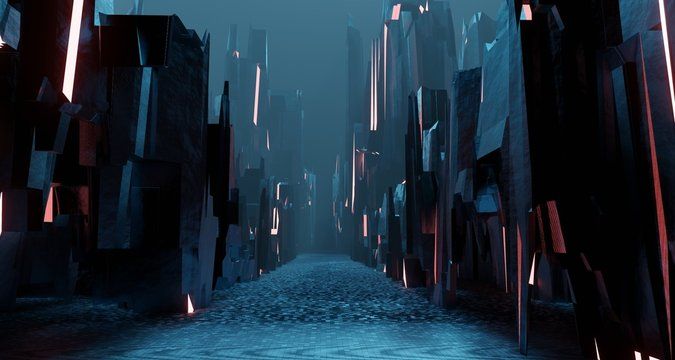 Sci fi landscape night city glows with neon light tall cubes blocks grunge interior 3D rendering