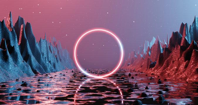 Sci fi alien planet landscape futuristic rock surreal lighting star sky space travel glow ring red neon light 3D rendering