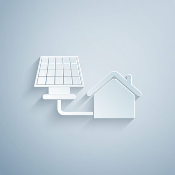 Paper cut House with solar panel icon isolated on grey background. Ecology, solar renewable energy. Eco-friendly house. Environmental Protection. Paper art style. Vector Illustration
