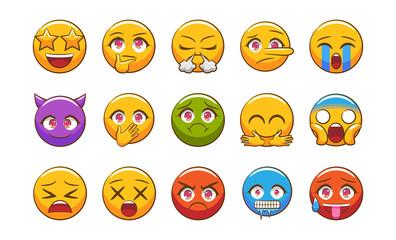emoticon vector set clipart design