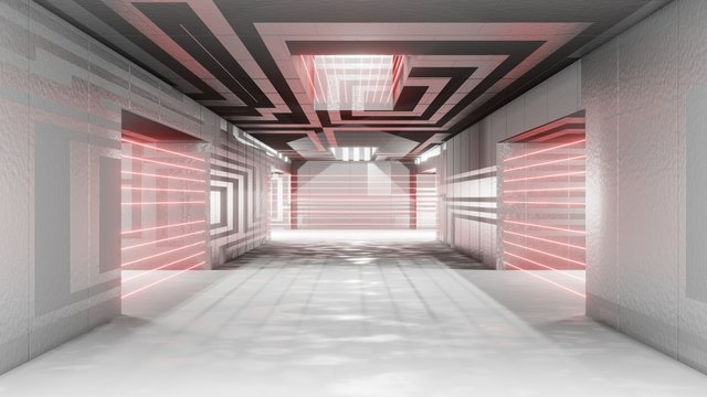 Sci fi interior futuristic room laser alarm protection security prison corridor garage alien space ship pipes communication glowing neon light fog 3D rendering