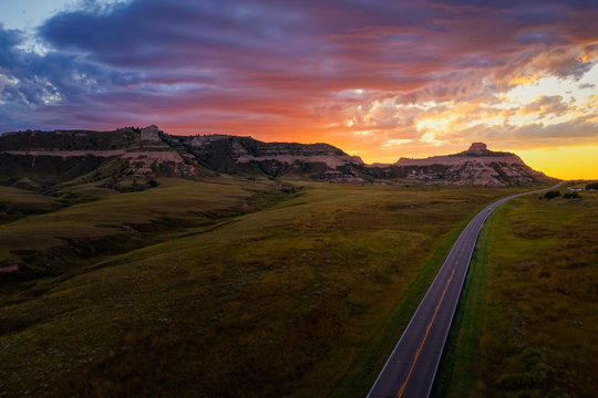 Beautiful Sunset over Scotts Bluff National Monument