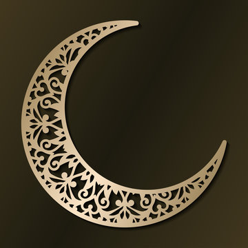 Laser cut template for wedding invitation card. Christmas carved openwork half moon. Graphic vector illustration. Arabic golden crescent. For wood carving, paper cut, die cut pattern.