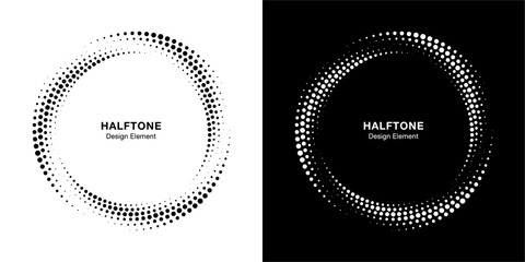 Wall Mural - Halftone circle dotted frame circularly distributed set. Abstract dots logo emblem design element. Round border Icon using halftone circle dot texture. Half tone circular background pattern. Vector.
