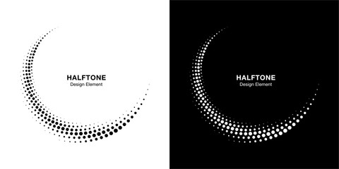 Halftone circle dotted frame circularly distributed set. Abstract dots logo emblem design element. Round border Icon using halftone circle dot texture. Half tone circular background pattern. Vector.