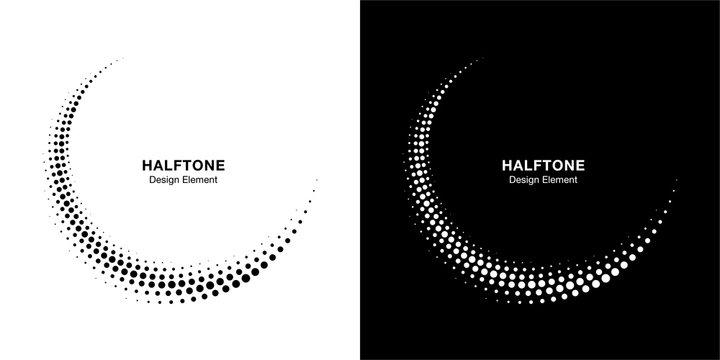 Halftone circle dotted frame circularly distributed set. Abstract dots logo emblem design element. Round border Icon using halftone circle dot texture. Half tone circular background pattern. Vector.