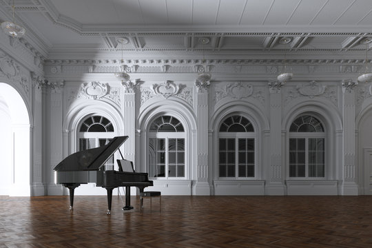 3d render of light in empty classic concert room with grand piano through the opened door