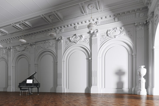 grand piano in white classic music interior 3d render