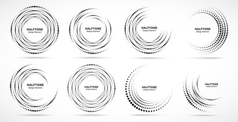 Wall Mural - Halftone circular dotted frames set. Circle dots isolated on the white background. Logo design element for medical, treatment, cosmetic. Round border using halftone circle dots texture. Vector