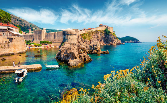 Attractive morning view of famous Fort Bokar in city of Dubrovnik. Bright summer seascape of Adriatic sea, Croatia, Europe. Beautiful world of Mediterranean countries.