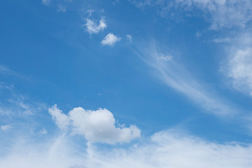 Beautiful blue sky with cloud that shape like rooster or bird.