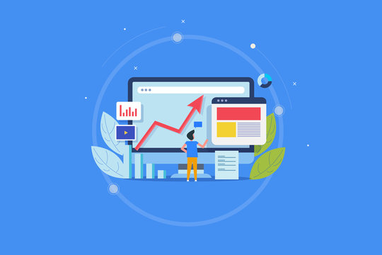 Marketing expert analyzing content report, digital content audit, content marketing insight concept. Flat design conceptual banner with icons and character.