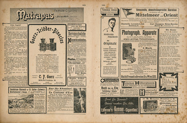 Newspaper magazine page retro advertisement Vintage engraved illustration