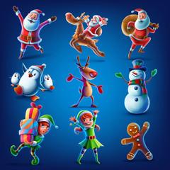 santa claus elf reeinder snowman penguin gingerbread set illustration for christmas