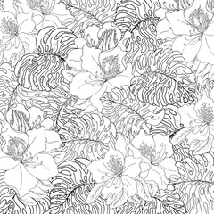 Seamless pattern of exotic white monstera leaves and azalea flowers with black outline.