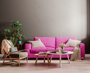 Dark mock up wall with violet purple sofa, two tables and a chair in modern interior background, living room with large window an radiator, Scandinavian style, 3D render, 3D illustration