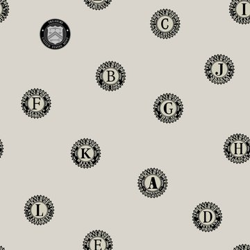 Seamless pattern. Prints of US federal banks printing paper money and mint