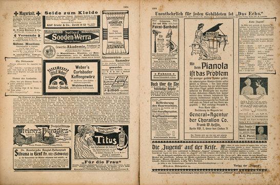 Newspaper page retro advertising Vintage magazine