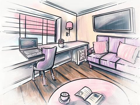 interior sketch design of living room Watercolor sketching idea