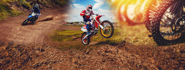 Banner rider on mountain dirtbike enduro participates in motocross, jumps on springboard against background dirt. Concept extreme action sport racing Fototapete
