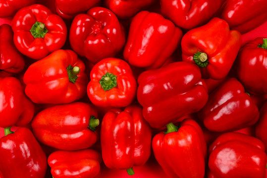 Fresh red bell pepper background.
