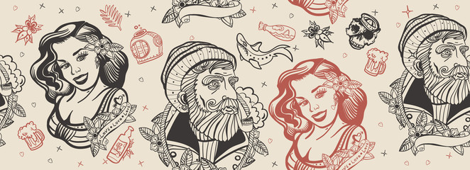 Sea adventure seamless pattern. Old school tattoo style. Sea wolf captain and sailor girl. Traditional tattooing  art Wall mural