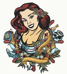 Sailor girl pin up style. Color tattoo and t-shirt design. Sea woman, steering whell, anchor and flowers. Old tattooing art