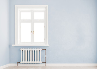 Light blue mock up wall with large window an radiator, Scandinavian style, 3D render, 3D illustration
