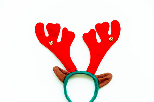 Reindeer antlers isolated in white. Christmas concept.