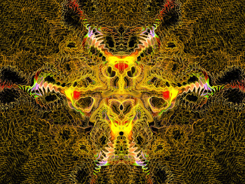 Alien. UFO. Creature from another dimension. Computer Generated Art. Abstract Graphic Design. Magic energy multicolored fractal. 3D rendering.