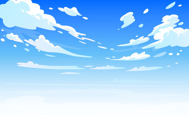 Fotobehang Blauw Vector day landscape sky clouds.Anime clean style. Background design