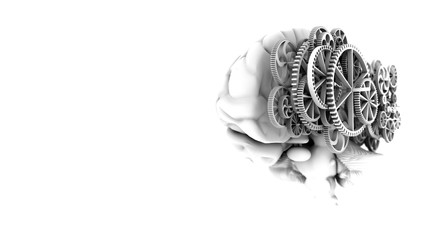 3D Model brain look real shape mix gold gears on black and white color style with 3d rendering.