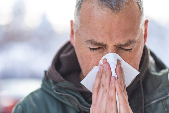 Closeup portrait of mature man with allergy or cold, blowing his nose with a tissue, looking miserable unwell very sick, isolated outside white trees background. Flu season, vaccination.