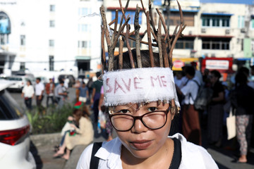 A protester with tree branches on her head attends a climate change demonstration in Yangon