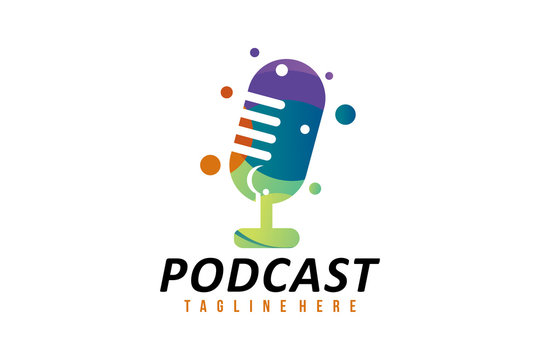 color podcast logo icon vector isolated