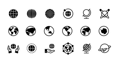 Globe icons. Geography and destination line and black symbol for web interface, planet country and world map icons design. Vector flat travel pictogram set with geographical outline earth
