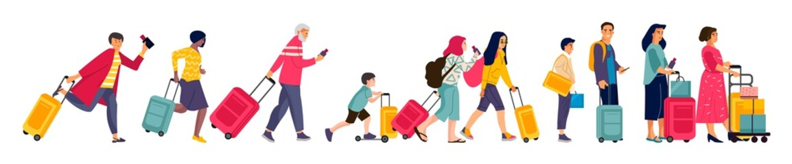 Travelers group. Tourists in line baggage and suitcases, men women and children in airport queue. Vector illustration flat colorful image hurrying happy people