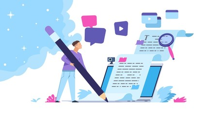 Content writer. Blog articles creation concept with people characters, freelance work business and marketing. Vector illustration creative online blog image with pencil and essays