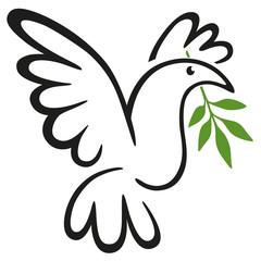 Concept de la paix avec le dessin au trait d'une colombe tenant le symbole du rameau d'olivier dans son bec.
